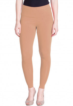 Solid Color Cotton Lycra Ankle Length Leggings in Peach