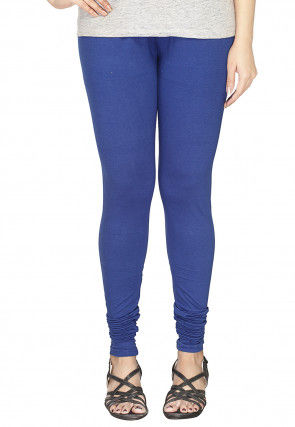 Solid Color Cotton Lycra Leggings in Blue