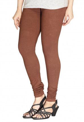 Solid Color Cotton Lycra Leggings in Brown