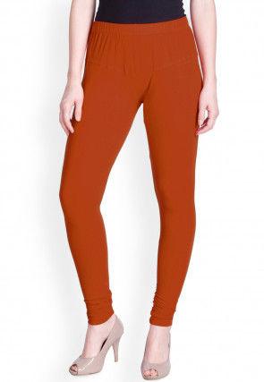 Solid Color Cotton Lycra Leggings in Dark Rust