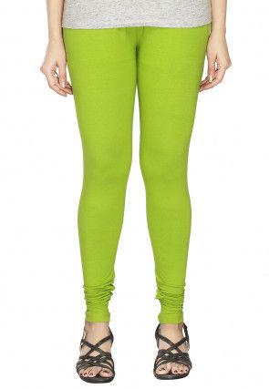 Solid Color Cotton Lycra Leggings in Light Green