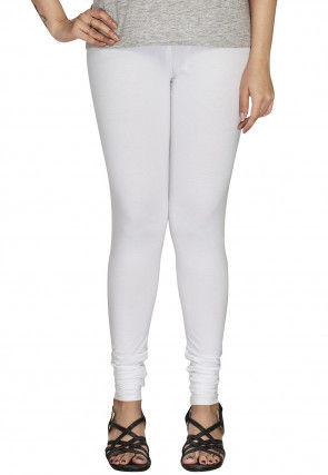 Solid Color Cotton Lycra Leggings in Off White
