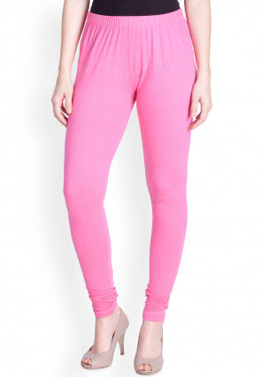 Solid Color Cotton Lycra Leggings in Pink