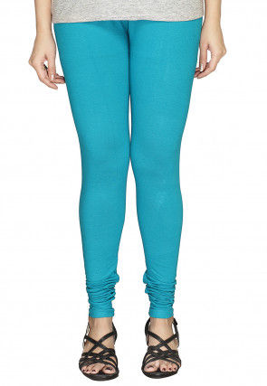 Solid Color Cotton Lycra Leggings in Sky Blue