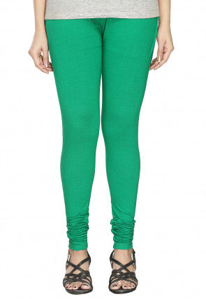 Solid Color Cotton Lycra Leggings in Teal Green
