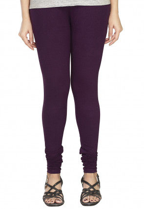 Solid Color Cotton Lycra Leggings in Violet