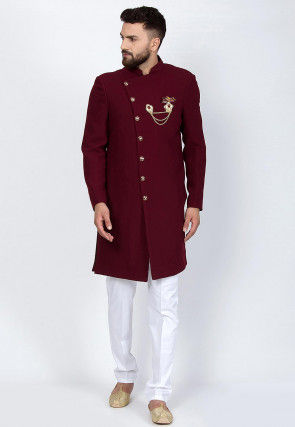 Solid Color Cotton Lycra Sherwani in Maroon