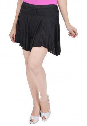 Solid Color Cotton Lycra Short Skirt in Black