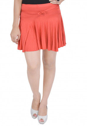Solid Color Cotton Lycra Short Skirt in Orange