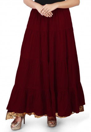 Solid Color Cotton Mulmul Skirts in Wine
