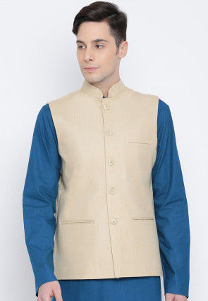 Solid Color Cotton Nehru Jacket in Light Beige