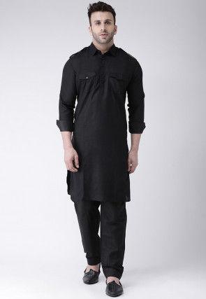 Solid Color Cotton Paithani Suit in Black