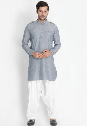 Solid Color Cotton Paithani Suit in Grey