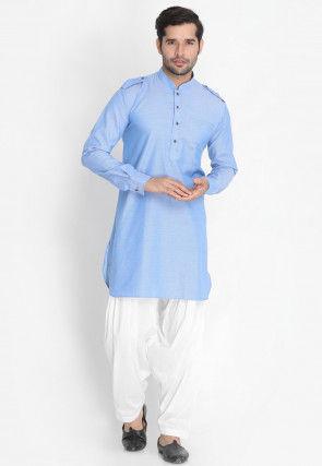 Solid Color Cotton Paithani Suit in Light Blue