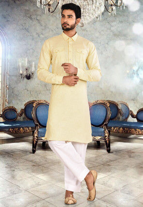 Solid Color Cotton Paithani Suit in Light Yellow