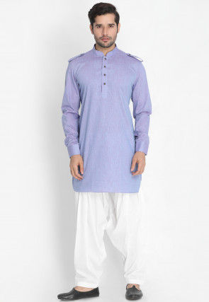 Solid Color Cotton Paithani Suit in Lilac