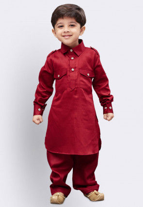 Solid Color Cotton Paithani Suit in Maroon