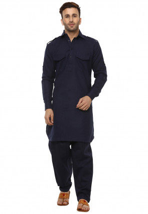Solid Color Cotton Paithani Suit in Navy Blue