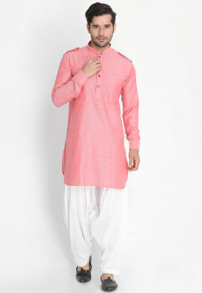Solid Color Cotton Paithani Suit in Pink