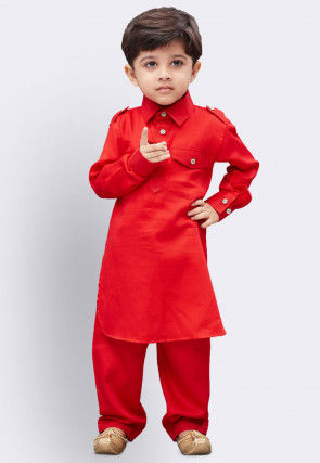 Solid Color Cotton Paithani Suit in Red