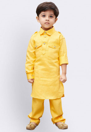 Solid Color Cotton Paithani Suit in Yellow