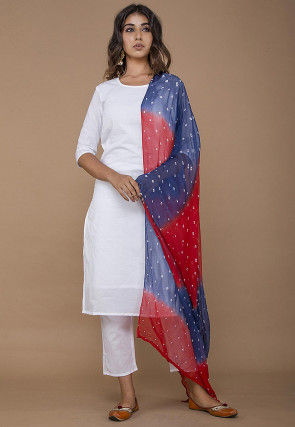 Solid Color Cotton Pakistani Suit in White