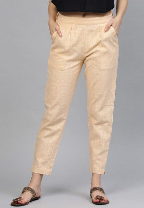 Solid Color Cotton Pant in Beige