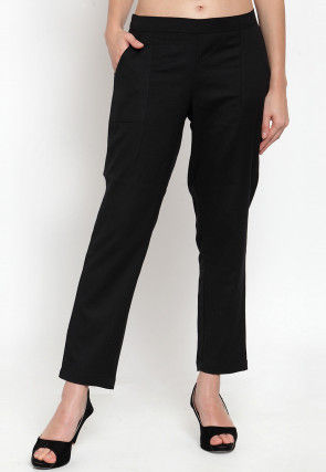 Solid Color Cotton Pant in Black