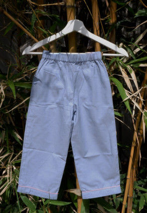 Solid Color Cotton Kids Pant in Blue