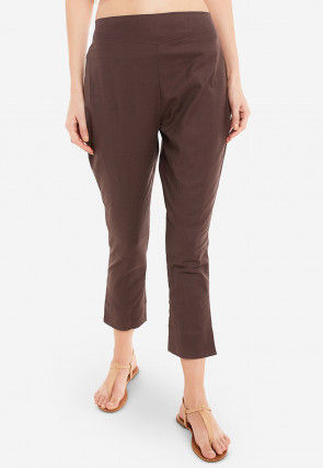 Solid Color Cotton Pant in Brown
