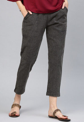 Solid Color Cotton Pant in Charcoal