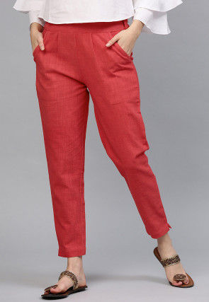 Solid Color Cotton Pant in Coral Red
