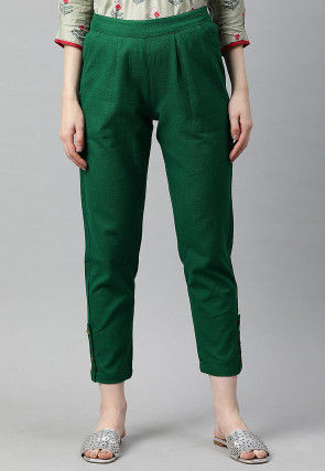 Solid Color Cotton Pant in Dark Green