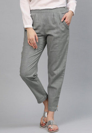 Solid Color Cotton Pant in Grey