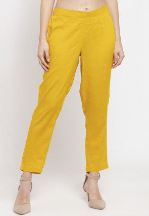 Solid Color Cotton Pant in Mustard