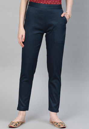 Solid Color Cotton Pant in Navy Blue