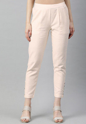 Solid Color Cotton Pant in Off White