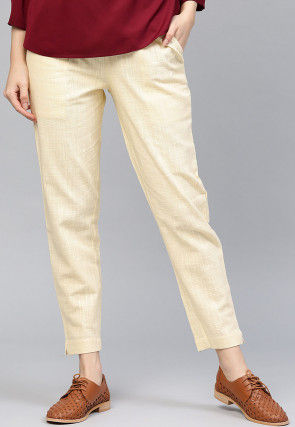 Solid Color Cotton Pant in Cream