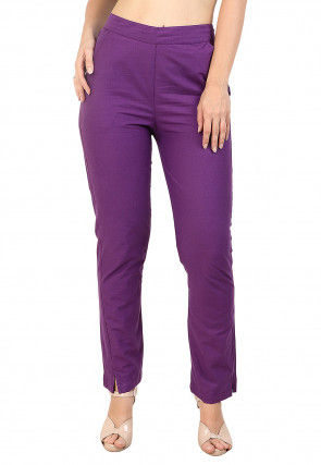 Solid Color Cotton Pant in Purple