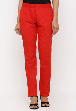 Solid Color Cotton Pant in Red