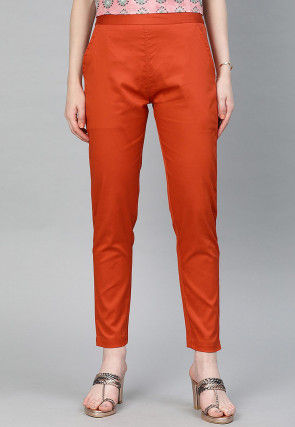 Solid Color Cotton Pant in Rust