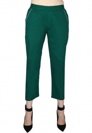 Solid Color Cotton Pant in Teal Green