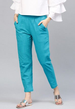 Solid Color Cotton Pant in Turquoise Blue
