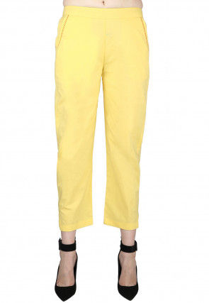 Solid Color Cotton Pant in Yellow