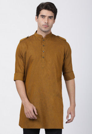 Solid Color Cotton Pathani Kurta in Brown