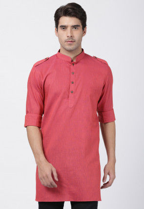 Solid Color Cotton Pathani Kurta in Coral Pink