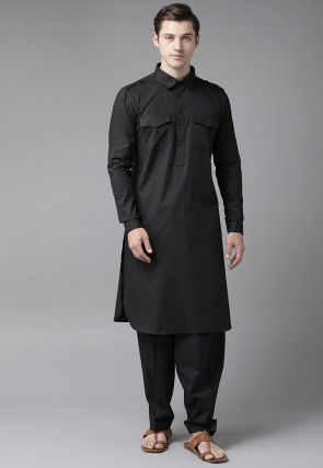 Solid Color Cotton Pathani Suit in Black