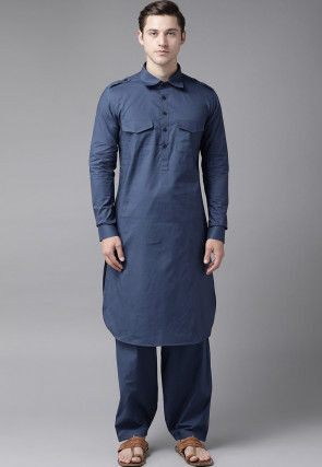 Solid Color Cotton Pathani Suit in Dark Blue