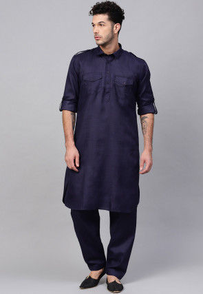 Solid Color Cotton Pathani Suit in Navy Blue