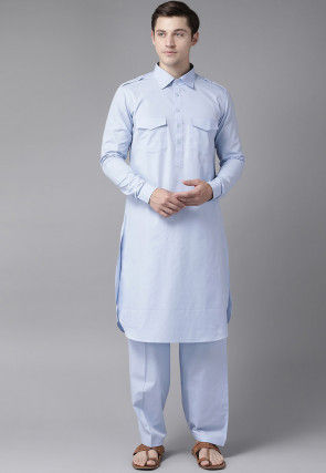 Solid Color Cotton Pathani Suit in Sky Blue
